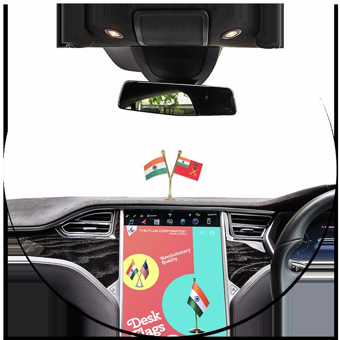 India & Indian Army Car Dashboard Flag