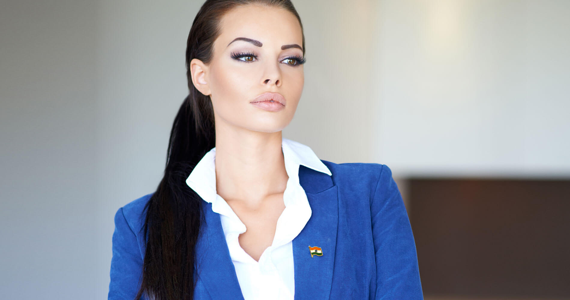 Indian Flag Brass Lapel Pin Worn By Model