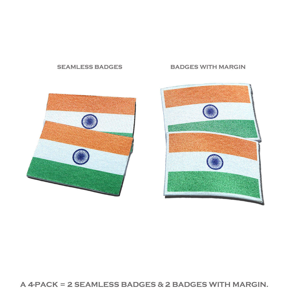 Indian Miniature Flag High Quality Badges for display on Caps, T-shirts, Shirts or Other Clothing Apparels (Pack of 4)