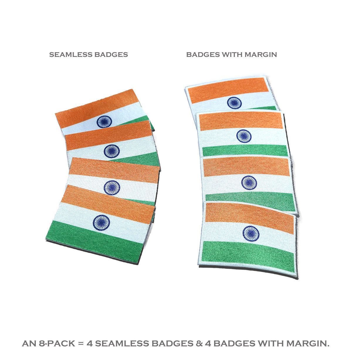 Indian Miniature Flag High Quality Badges for display on Caps, T-shirts, Shirts or Other Clothing Apparels (Pack of 8)
