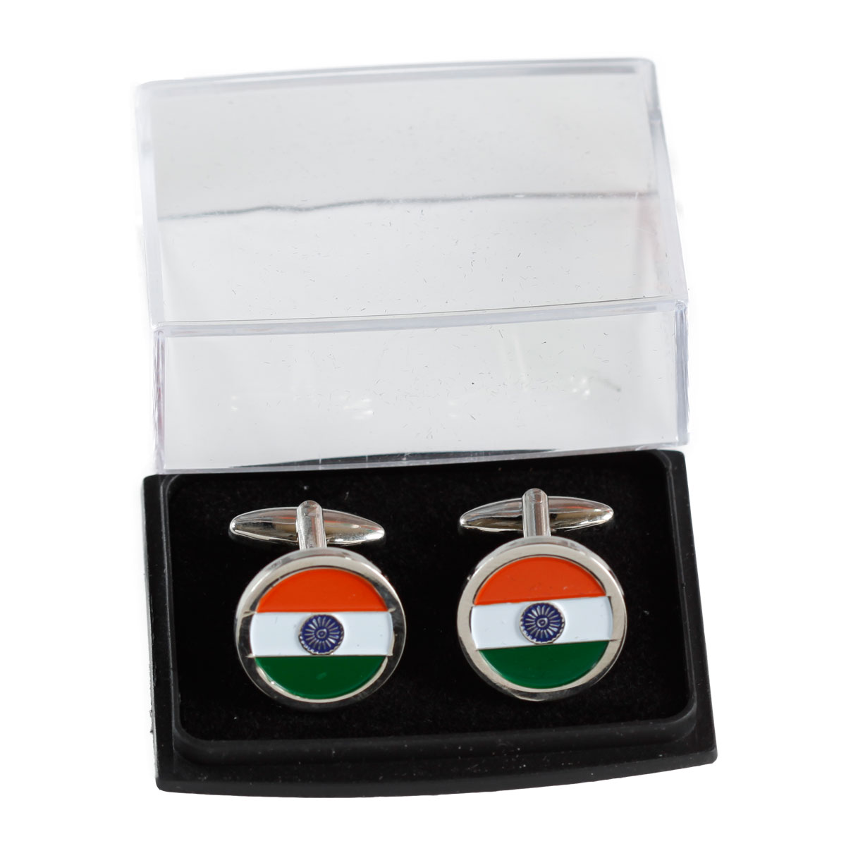 Indian Flag Circular Nickel-Plated Brass High Quality Cufflinks for Shirts