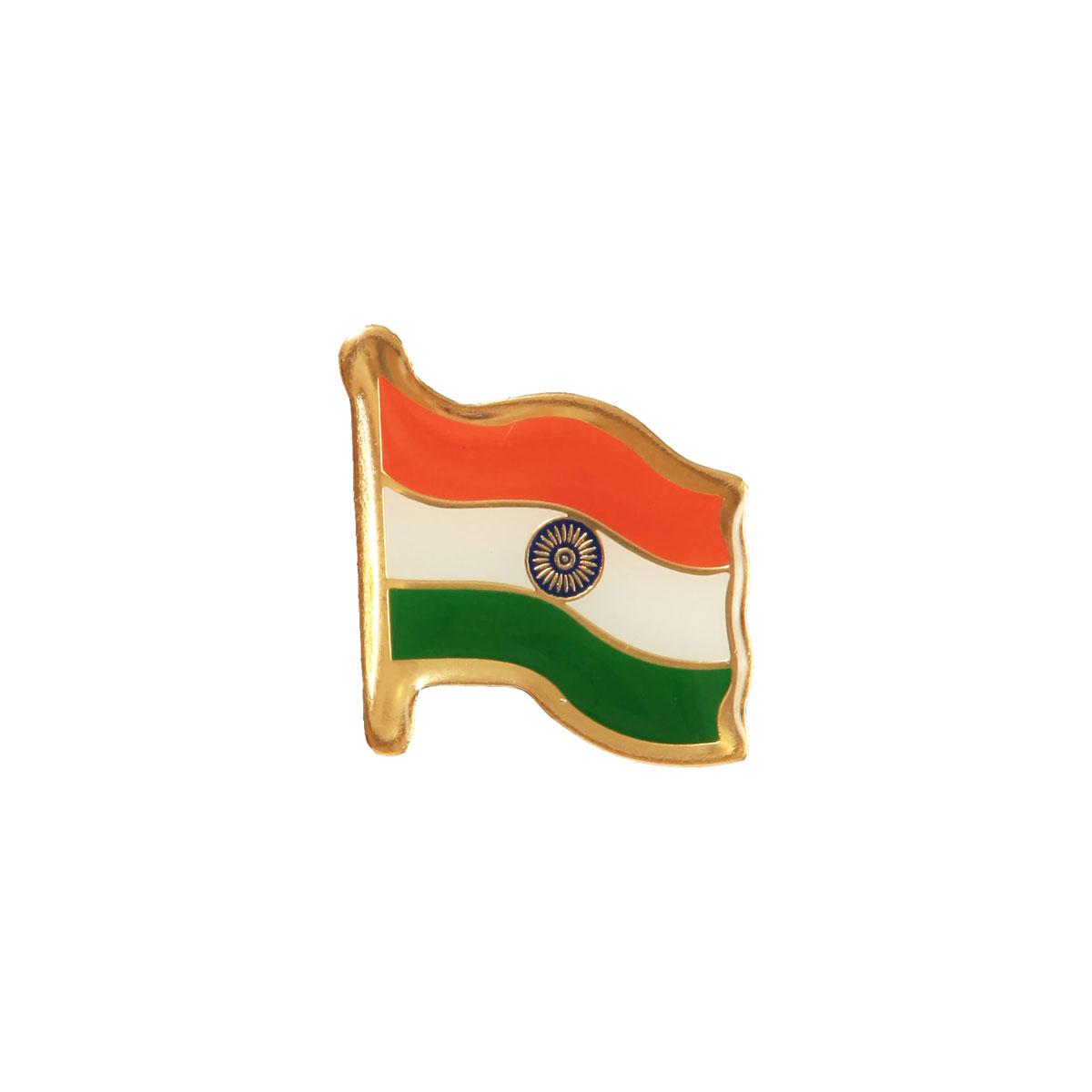 Indian Flag Brass Lapel Pin / Brooch / Badge - Medium Size