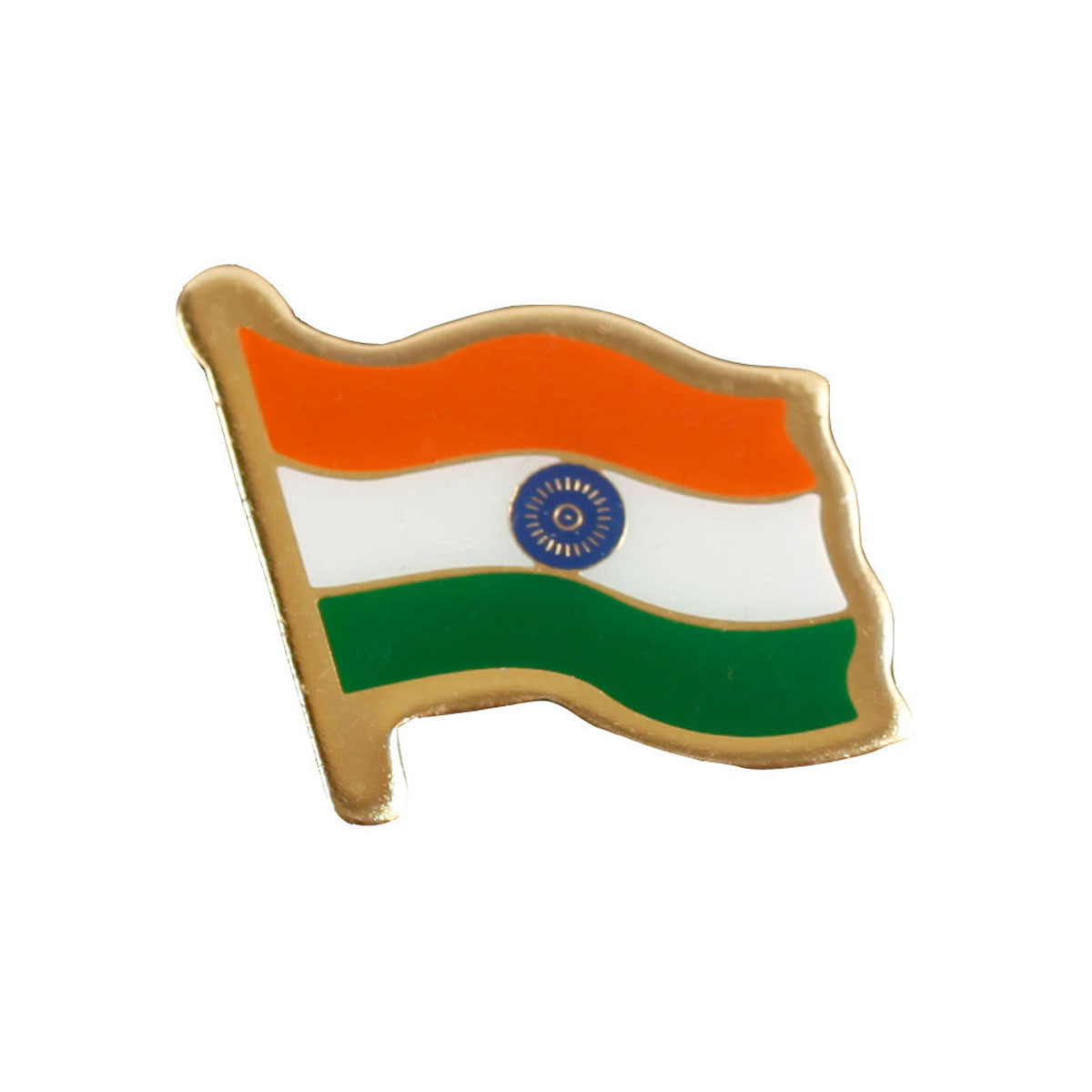 Indian Flag Brass Lapel Pin / Brooch / Badge - Large Size