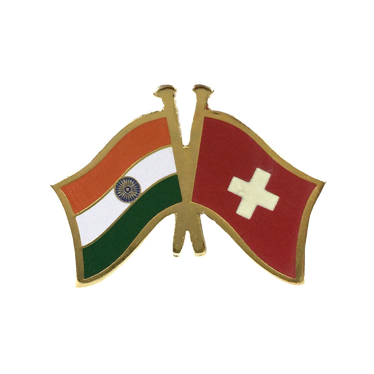 India & Switzerland Cross Flags Lapel Pin