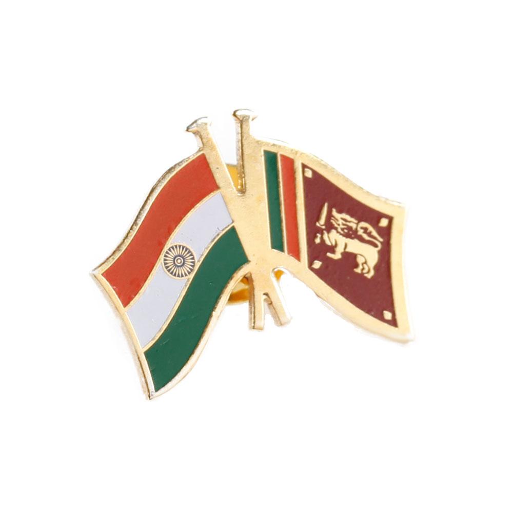 India & Sri Lanka Cross Flags Lapel Pin