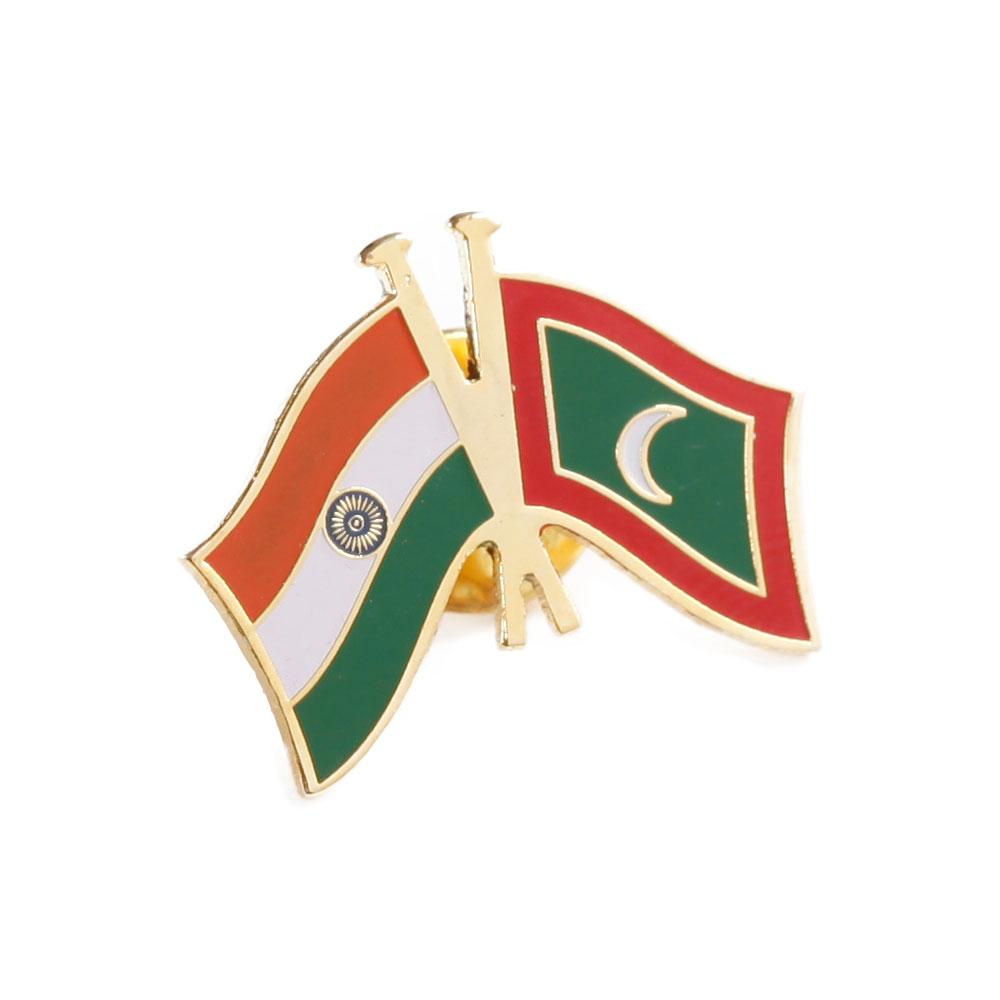 India & Maldives Cross Flags Lapel Pin