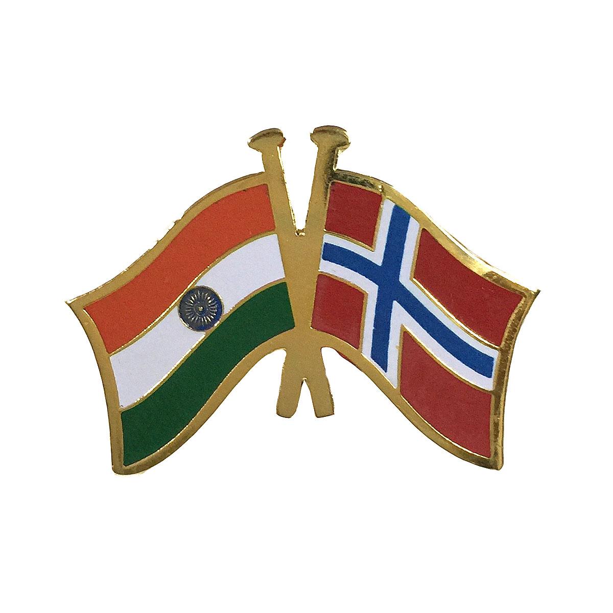 India & Norway Cross Flags Lapel Pin