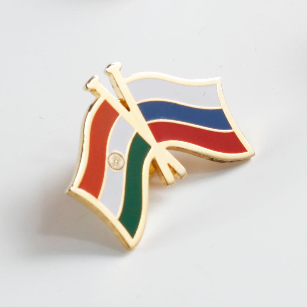 India & Russia Cross Flags Lapel Pin