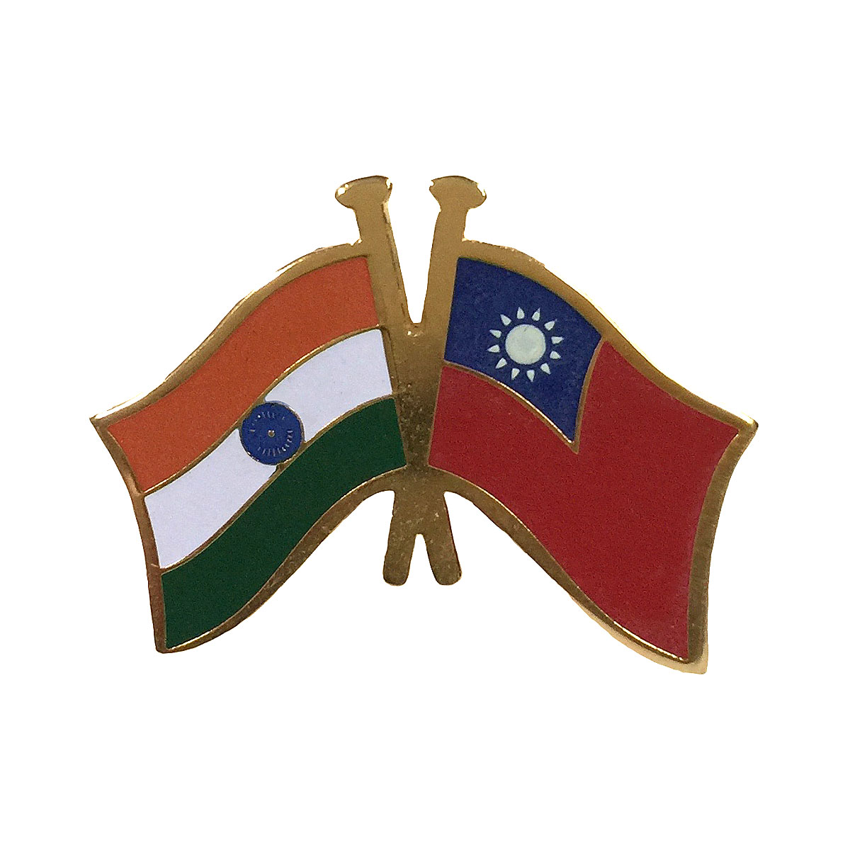 India & Taiwan Cross Flags Lapel Pin