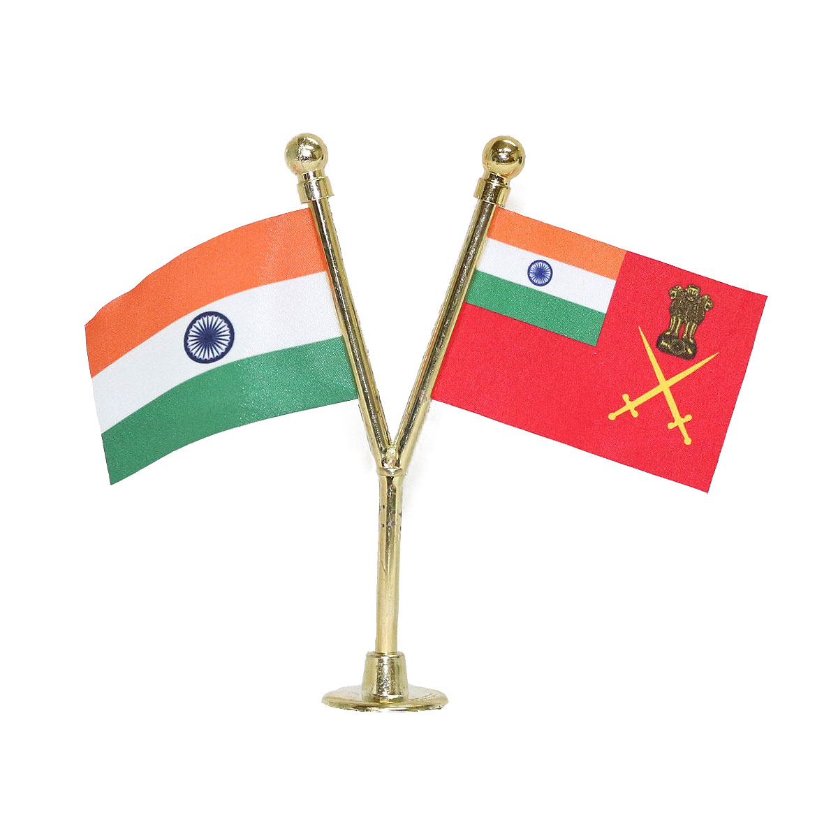 India & Indian Army Miniature Car Dashboard Flag with A Gold-Plated Y-Staff & Nano Base