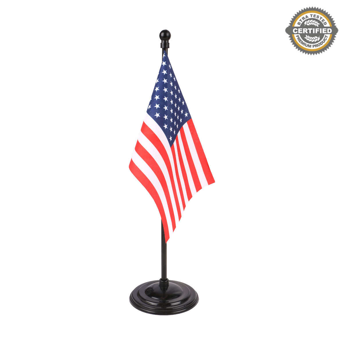 """USA Miniature Table Flag of size 4"""" x 6"""" in 100% Polyester With A Black Plastic Round Base"""