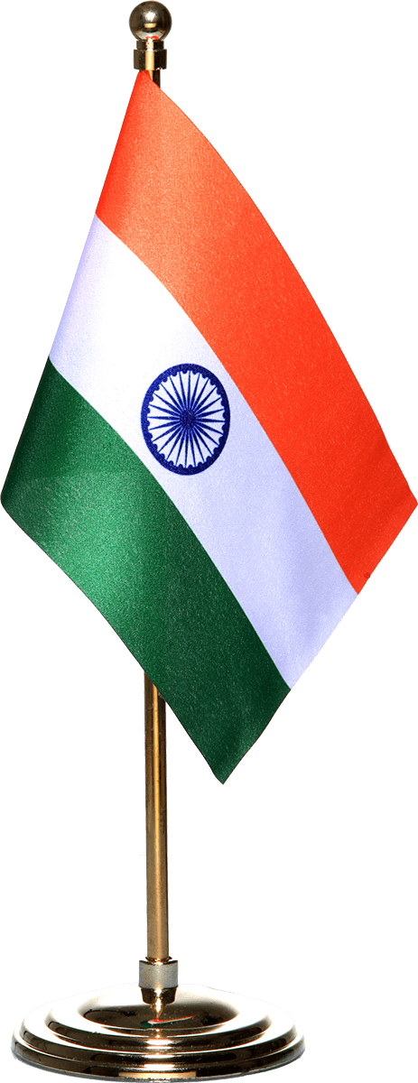 Indian Miniature Table Flag With A Gold-Plated Plastic Round Base