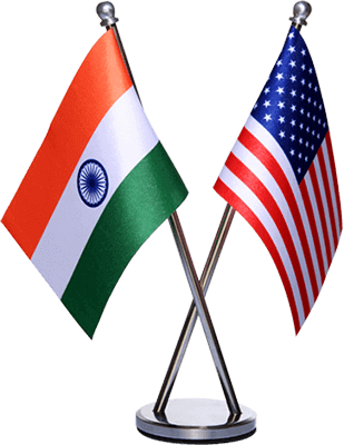 india and usa flag with stainless steel stand