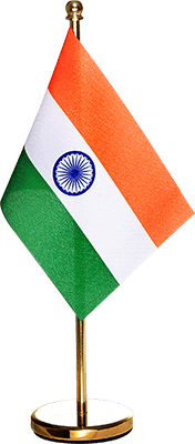 indian flag with gold plated brass stand