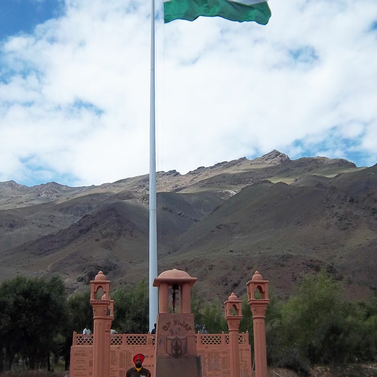 Monumental Giant Indian Flag of 20ft x 30ft at Dras, Kargil War Memorial