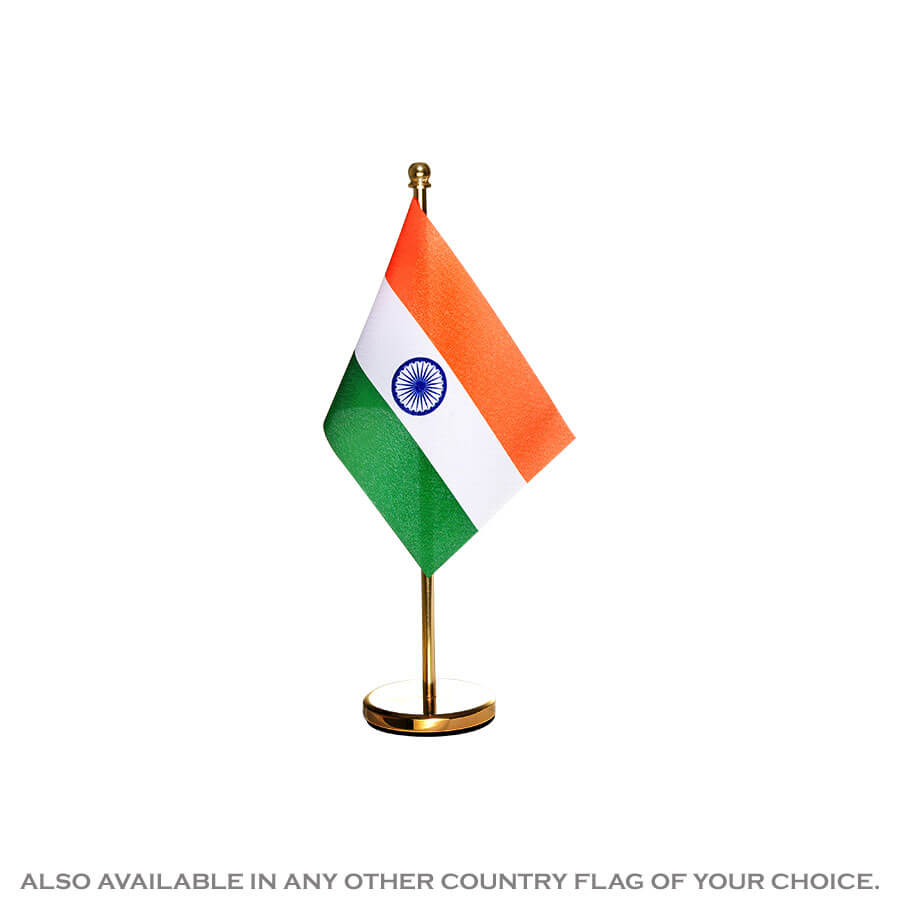 Indian National Table Flag With A Gold Brass Stand