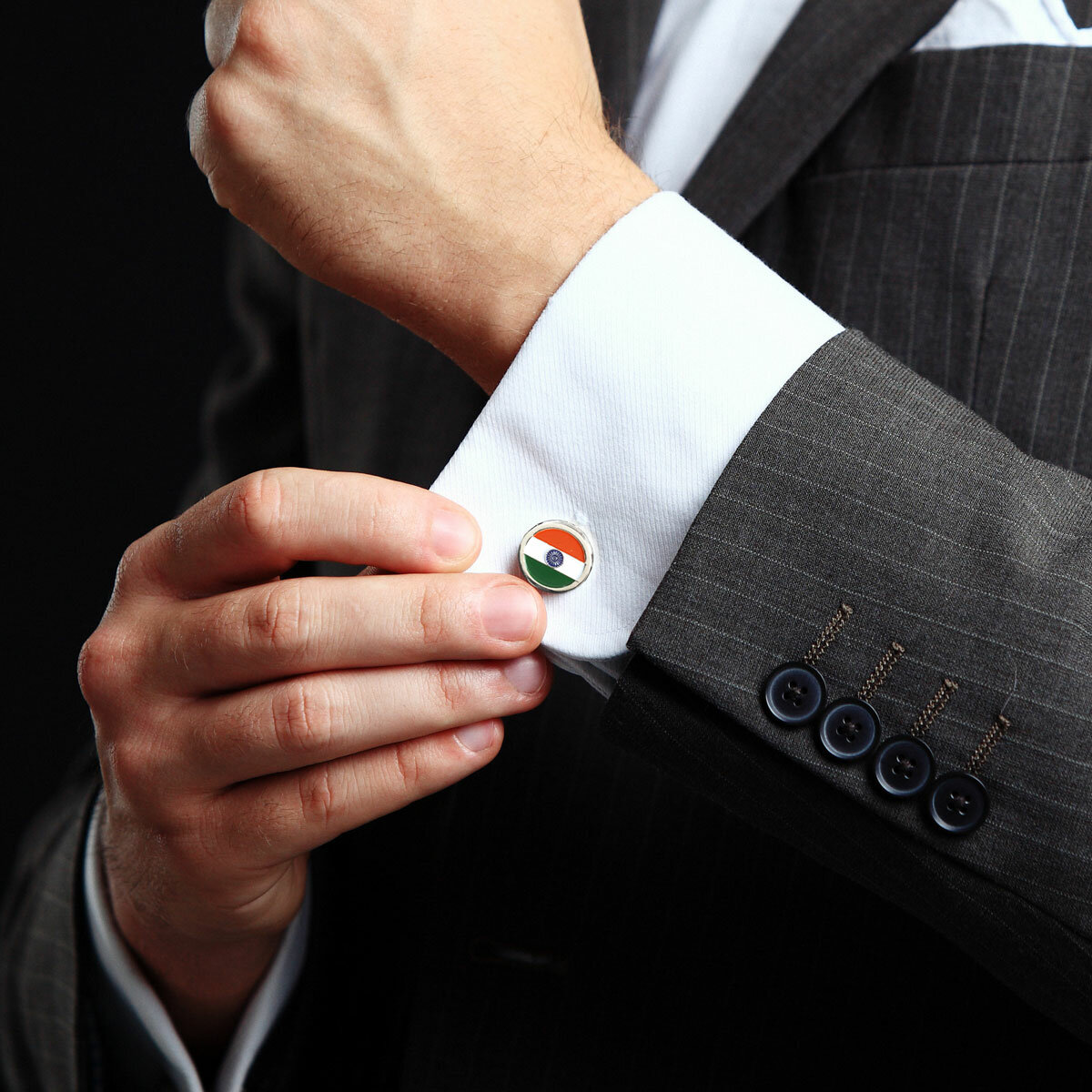 Man Wearing Indian National Flag Round Nickel Plated Cufflinks