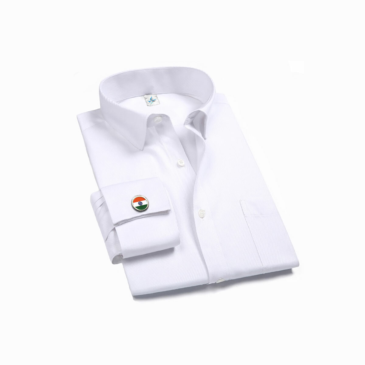 Indian National Flag Round Nickel Plated Cufflinks On A Shirt
