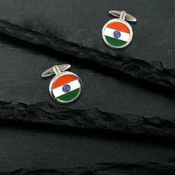 Indian Flag Round Chrome Plated Brass Cufflinks