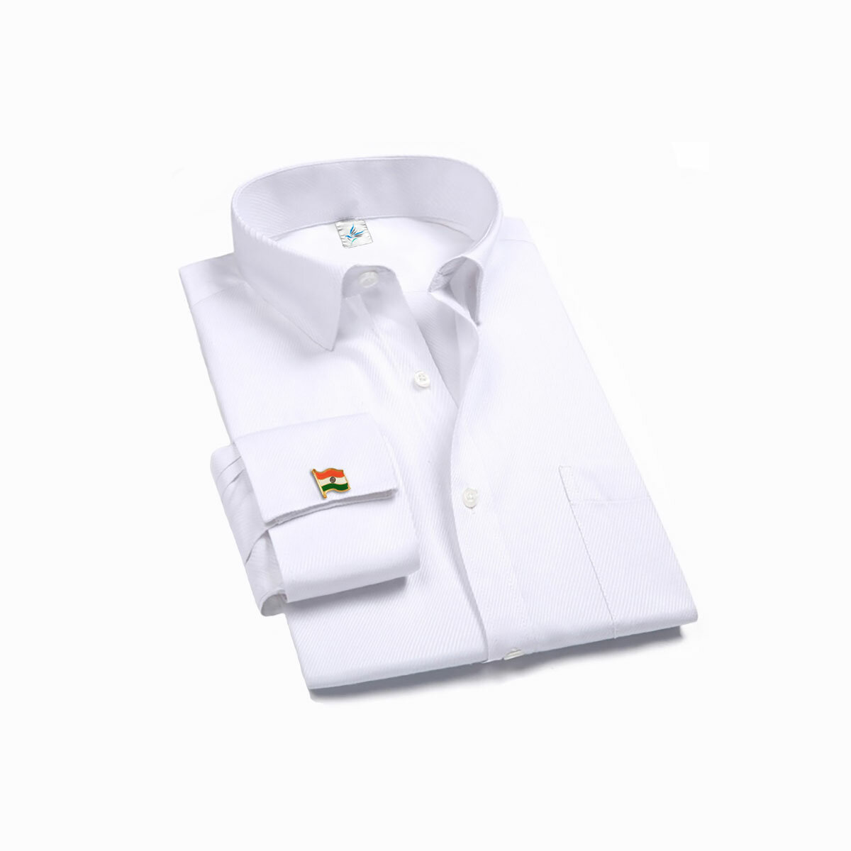 Indian National Flag Gold Plated Cufflinks On A Shirt