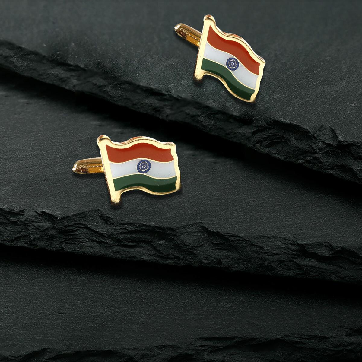 Indian Flag Gold Plated Brass Cufflinks