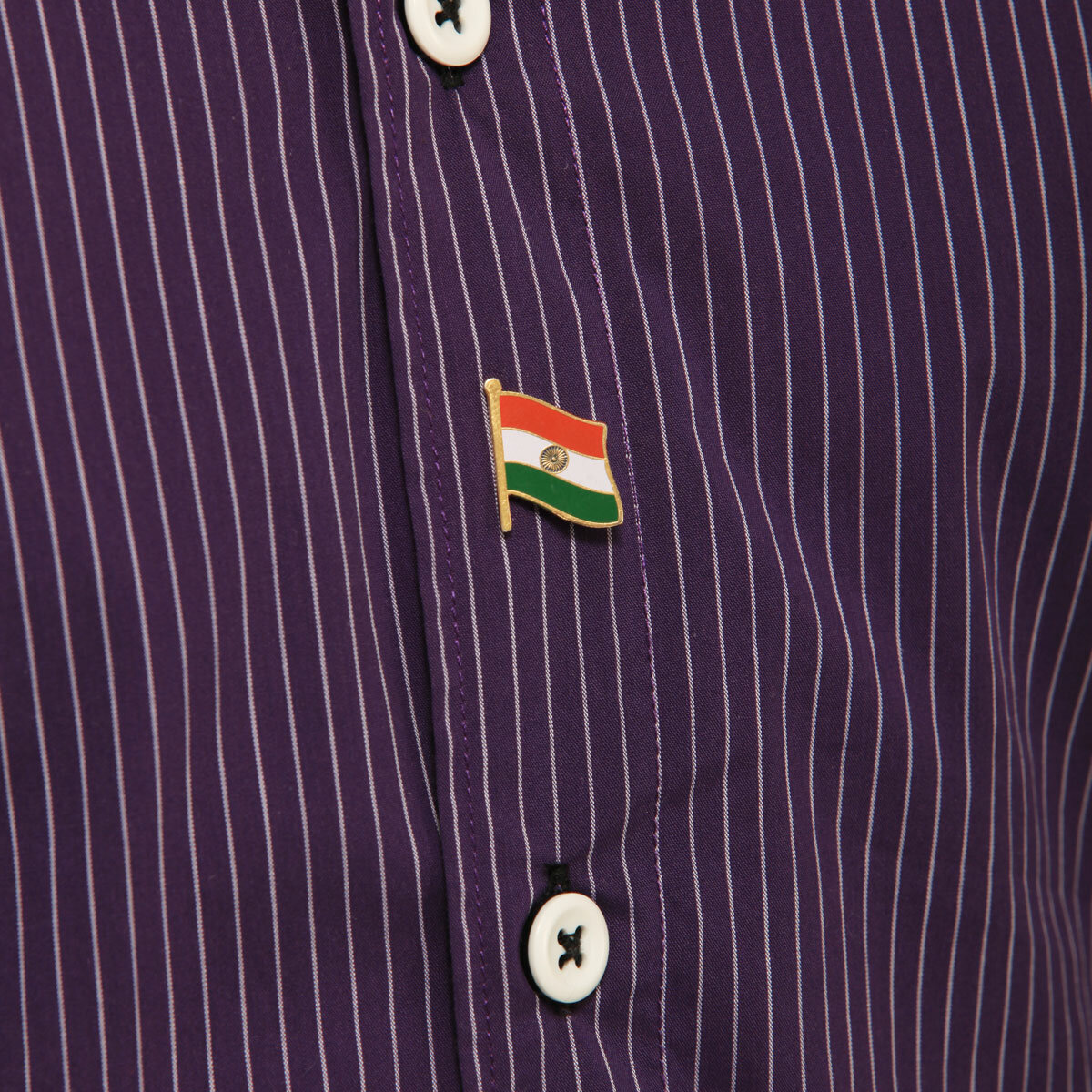 Indian National Flag Gold Plated Brass Small Lapel Pin Worn On A Shirt