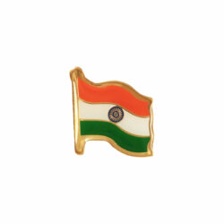 Indian National Flag Gold Plated Brass Lapel Pin / Brooch / Badge Medium Size