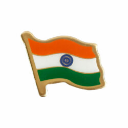 Indian National Flag Gold Plated Brass Lapel Pin / Brooch / Badge Large Size