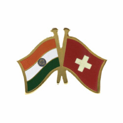 India - Switzerland National Flag Gold Plated Brass Lapel Pin