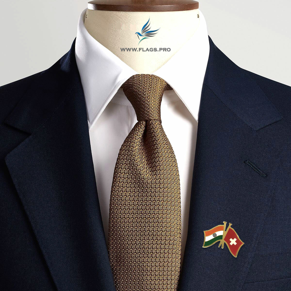 India & Switzerland National Flag Gold Plated Brass Lapel Pin On A Men's Suit