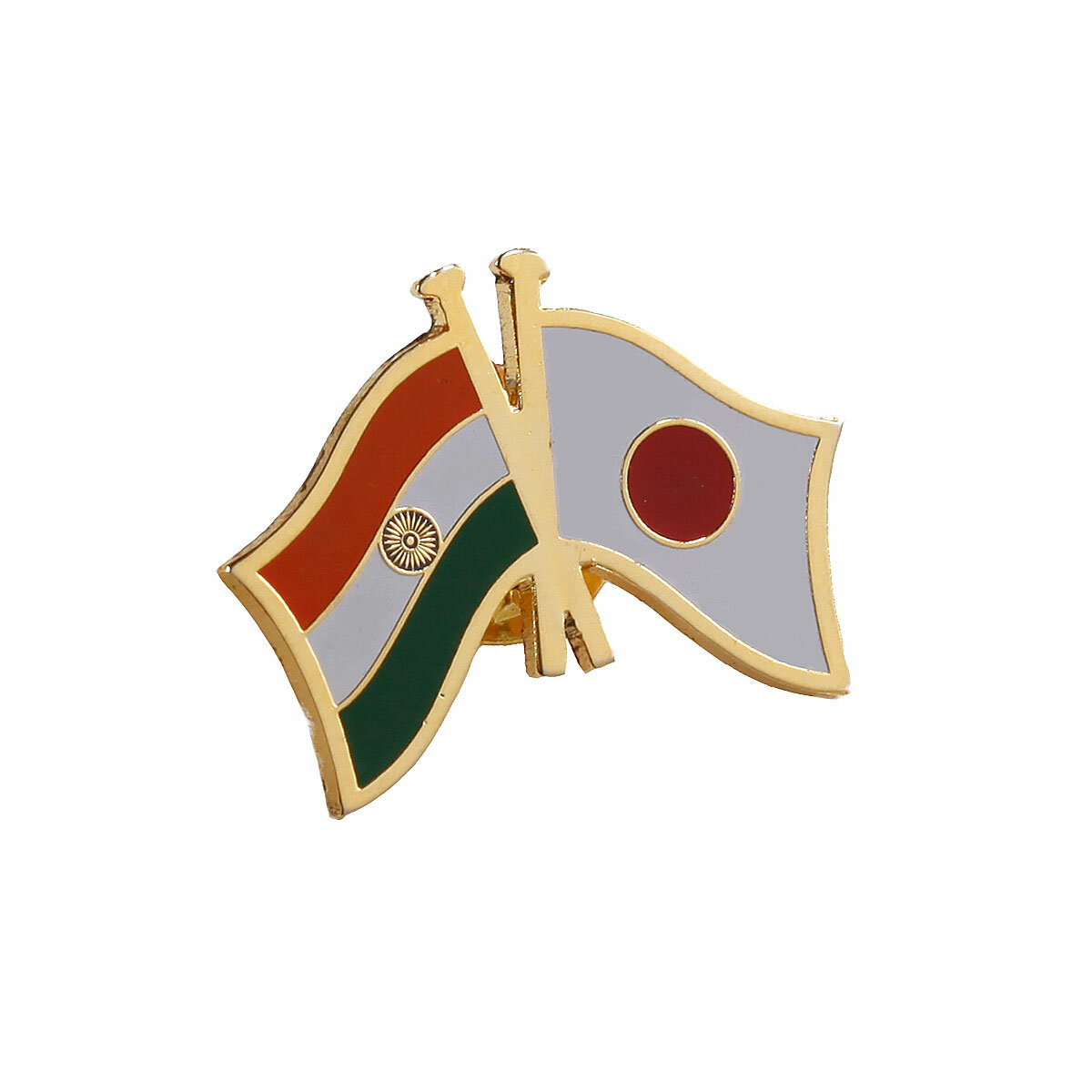 India - Japan National Flag Gold Plated Brass Lapel Pin