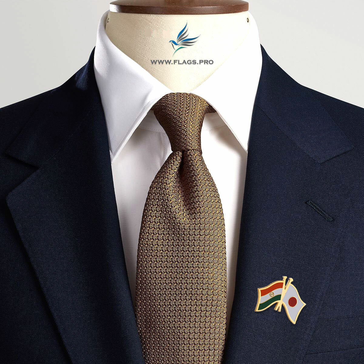 India & Japan National Flag Gold Plated Brass Lapel Pin On A Men's Suit