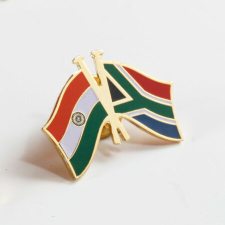 India - South Africa National Flag Gold Plated Brass Lapel Pin