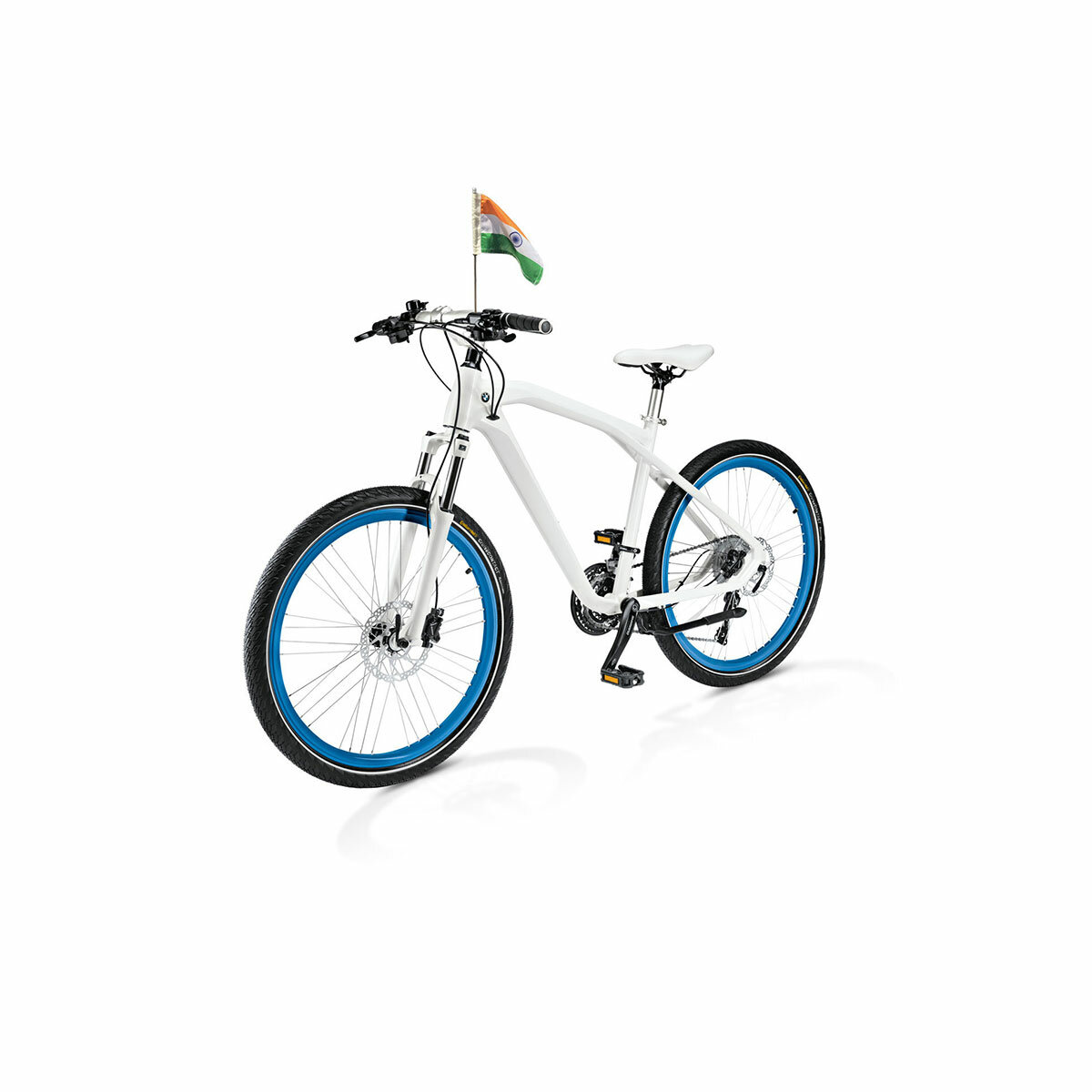 Durable Indian Flag Mounted On A Cycle / Bicycle