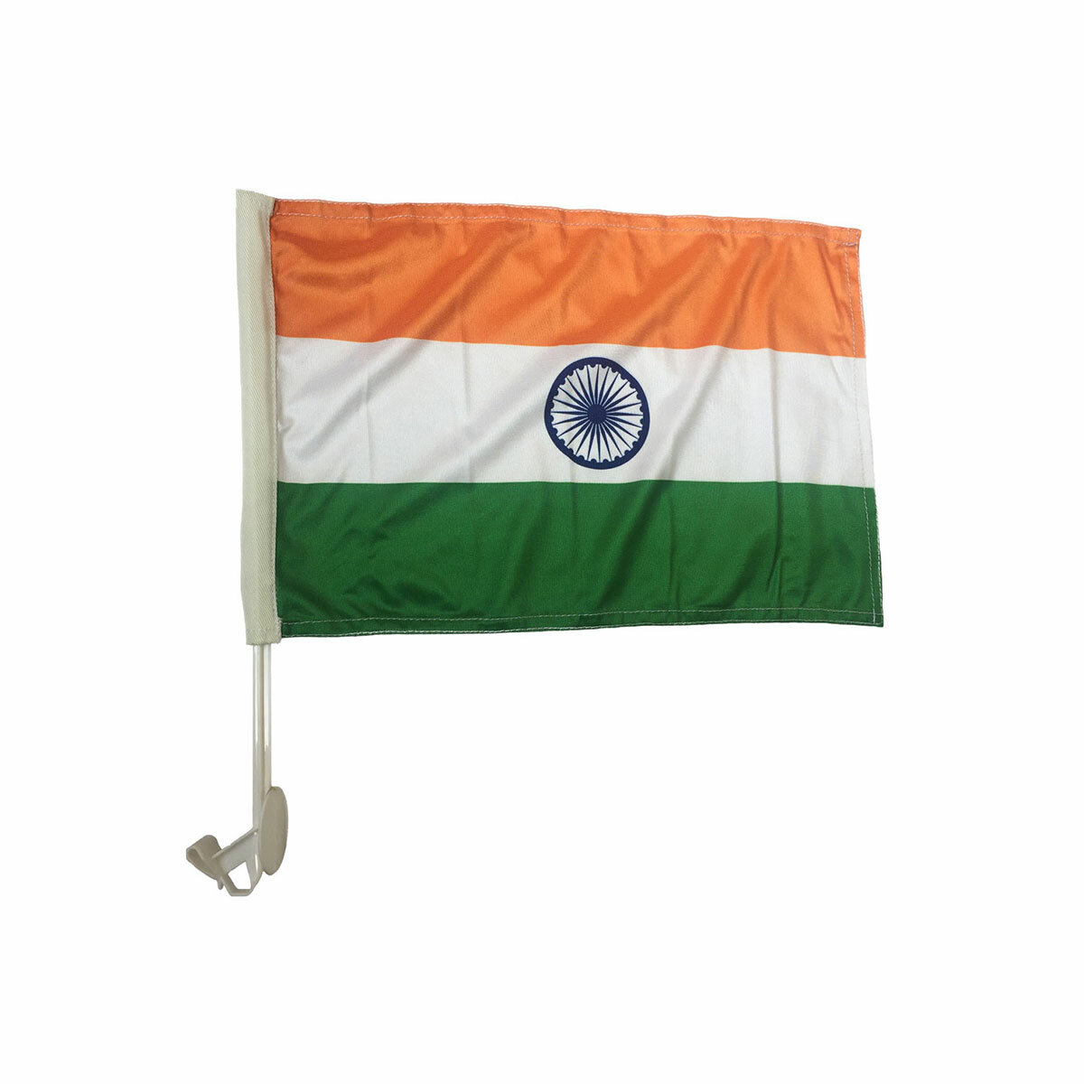 car window indian flag with plastic staff for mounting