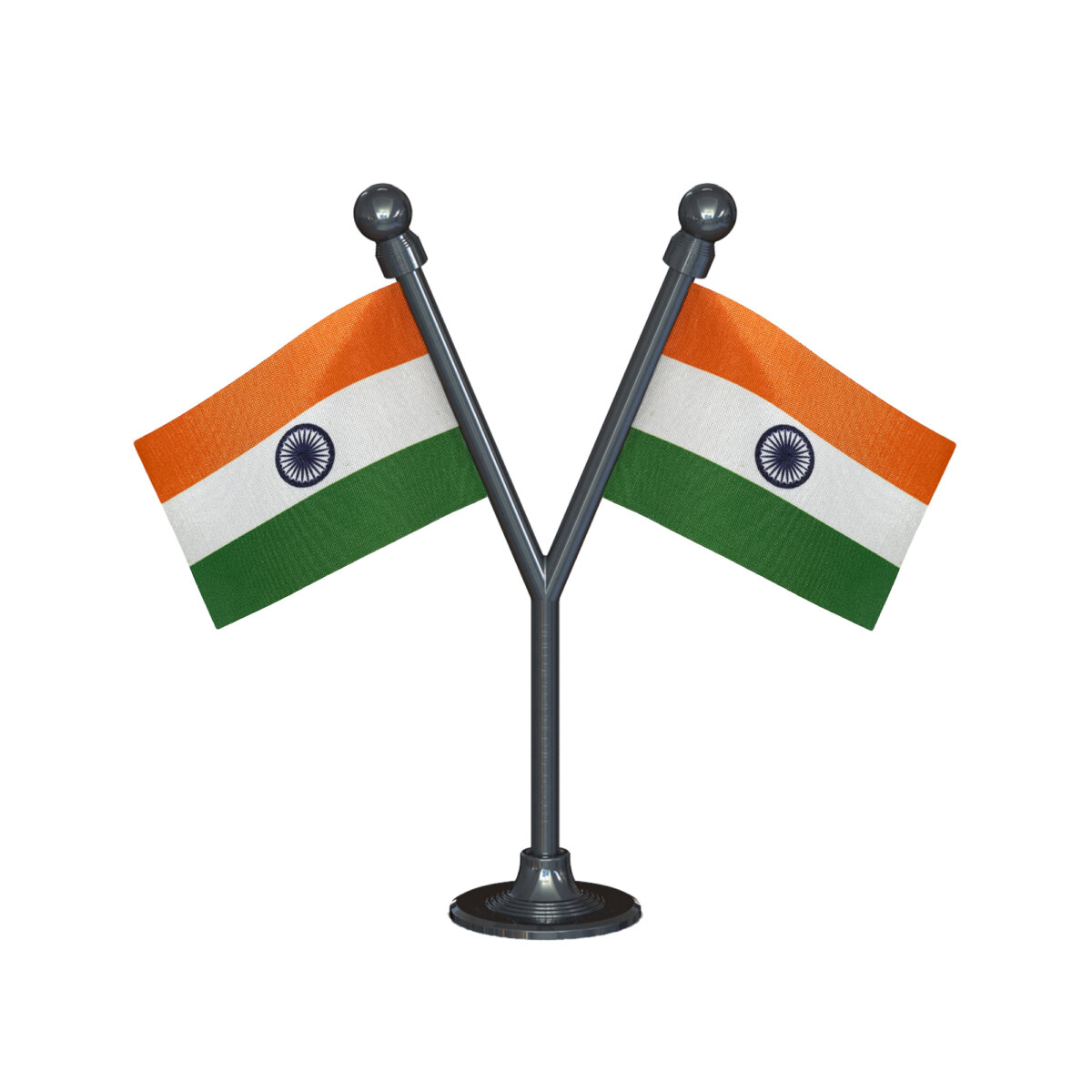 Dual Indian Car Dashboard Flags 2in x 3in With A Plastic Gunmetal Black Base