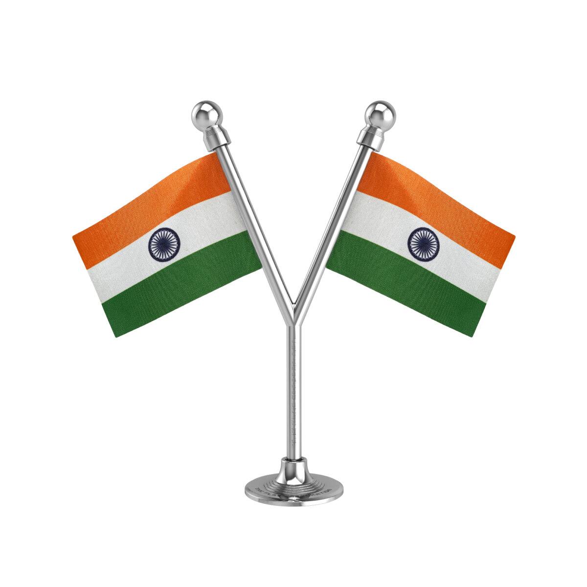 Dual Indian Car Dashboard Flags With A Plastic Liquid Chrome Base