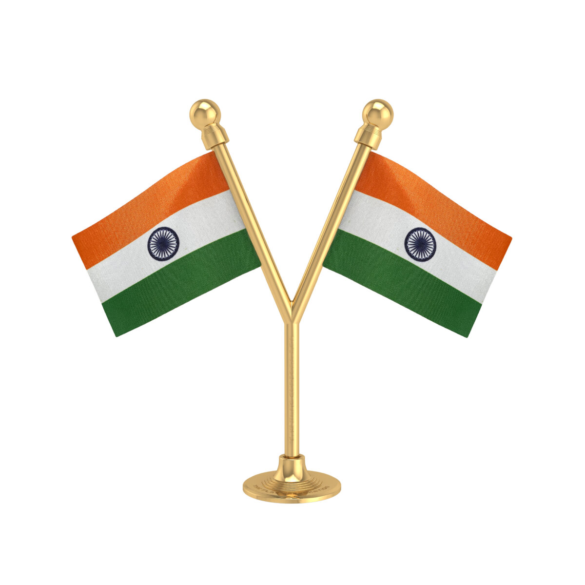 Dual Indian Car Dashboard Flags With A Plastic Sublime Gold Base