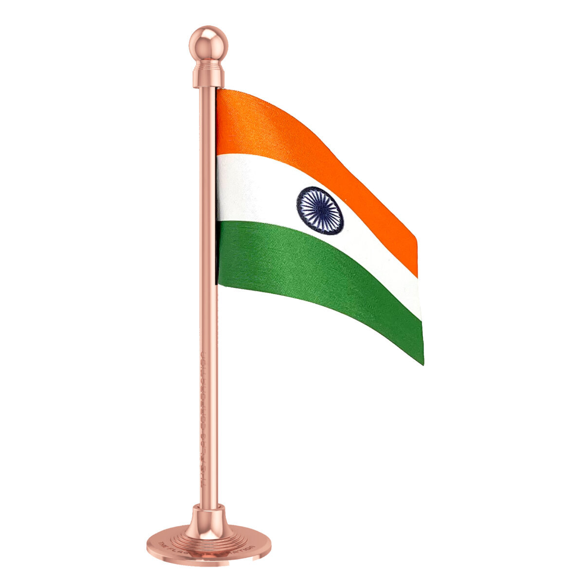 The Flag Shop Indian Car Dashboard Flag 2in x 3in with a Stainless Steel Blush Rose Gold Base