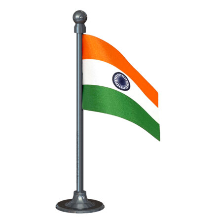 Indian Car Dashboard Flag 2in x 3in With A Plastic Gunmetal Black Base