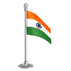 Indian Car Dashboard Flag 2in x 3in With A Plastic Liquid Chrome Base