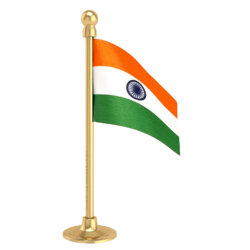 Indian Car Dashboard Flag With A Plastic Sublime Gold Base