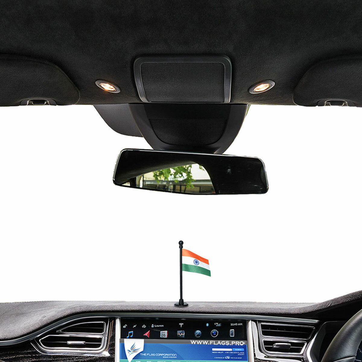 indian flag with a black plastic stand on a car dashboard