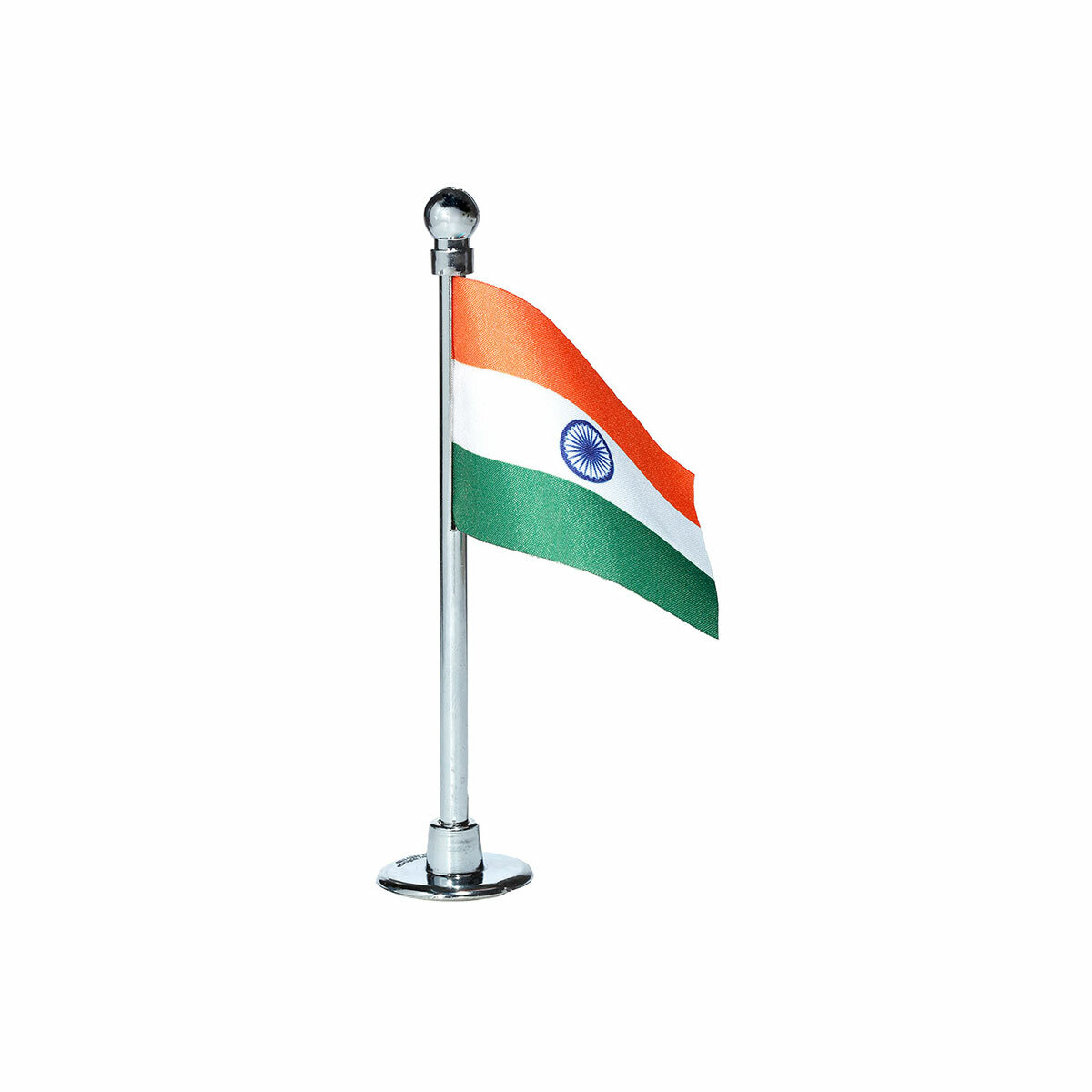 indian car dashboard flag with a chrome plated plastic stand / base