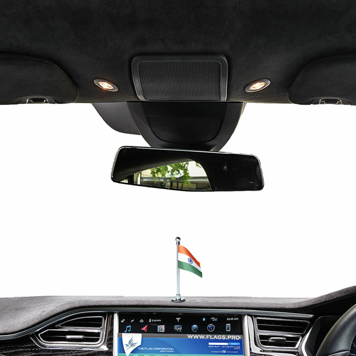 indian flag with a chrome plated plastic stand on a car dashboard