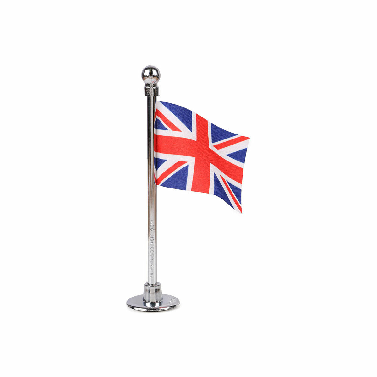 uk car dashboard flag with a chrome plated plastic stand / base
