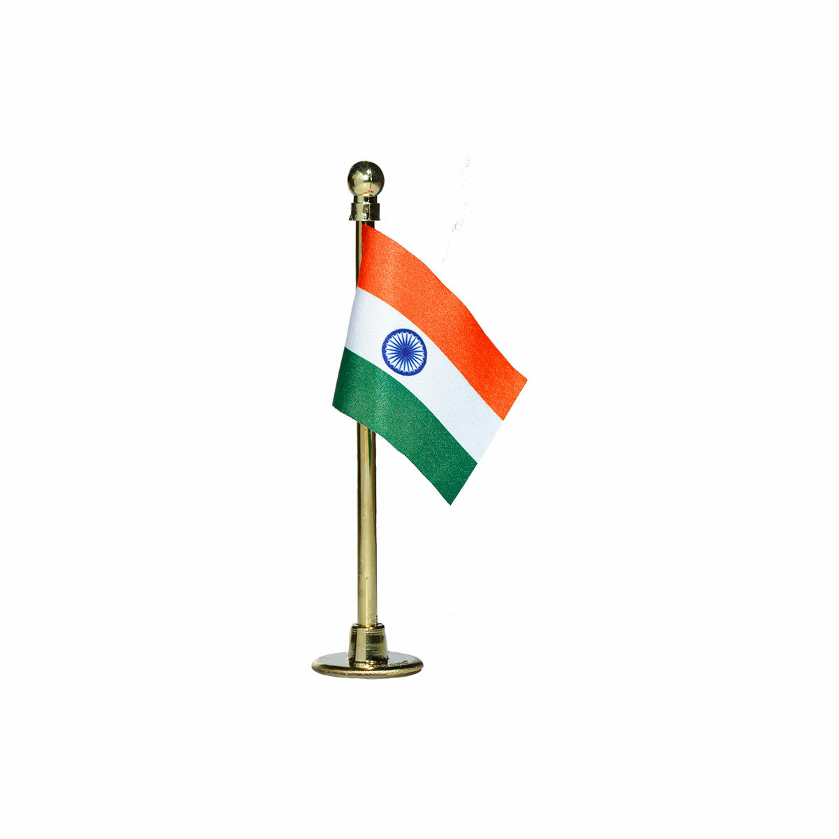 indian car dashboard flag with a gold plated plastic stand / base