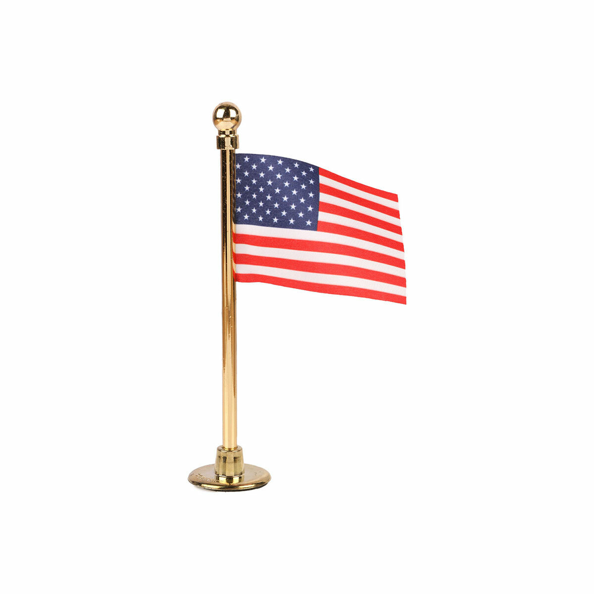 usa car dashboard flag with a chrome plated plastic stand / base