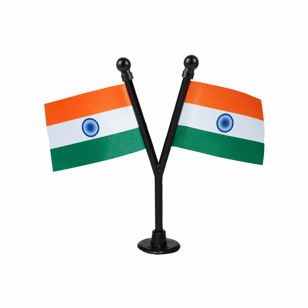 dual indian car dashboard flags with a black plastic stand / base