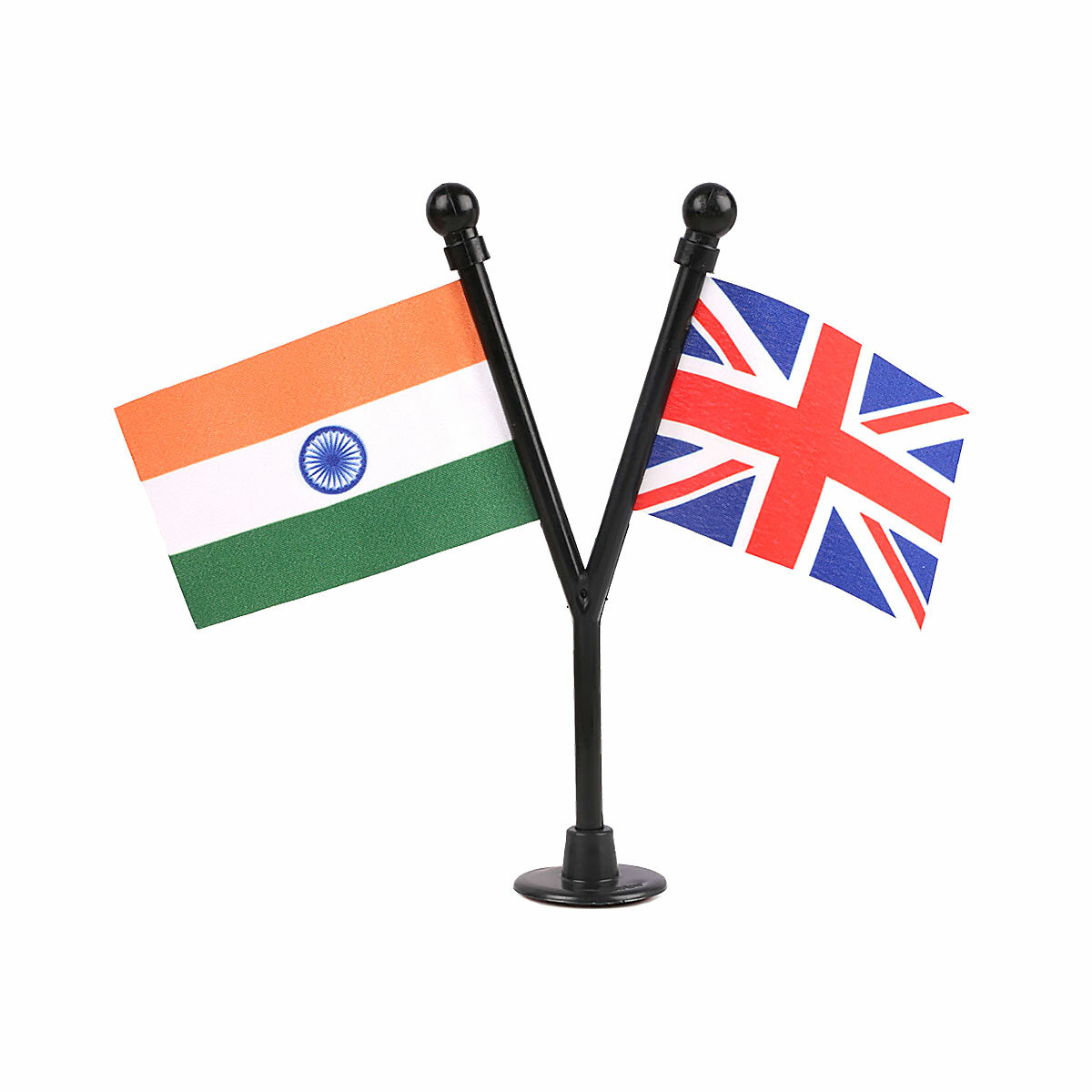 dual indian & uk car dashboard flags with a black plastic stand / base
